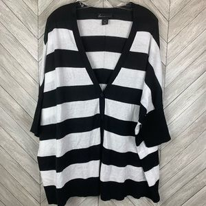 Lane Bryant b&w stripe shirt sleeve cardigan 18/20